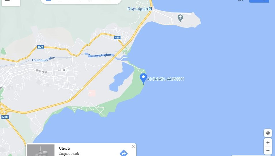 The location point of the sandy beach at Lake Sevan