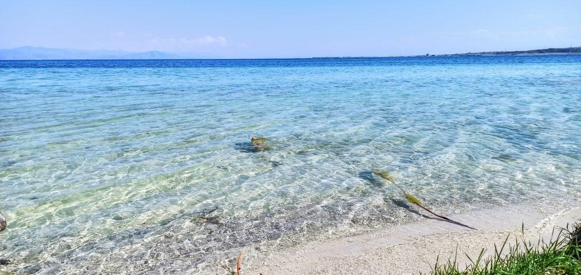 Lake Sevan - a shore with a salt-like sand