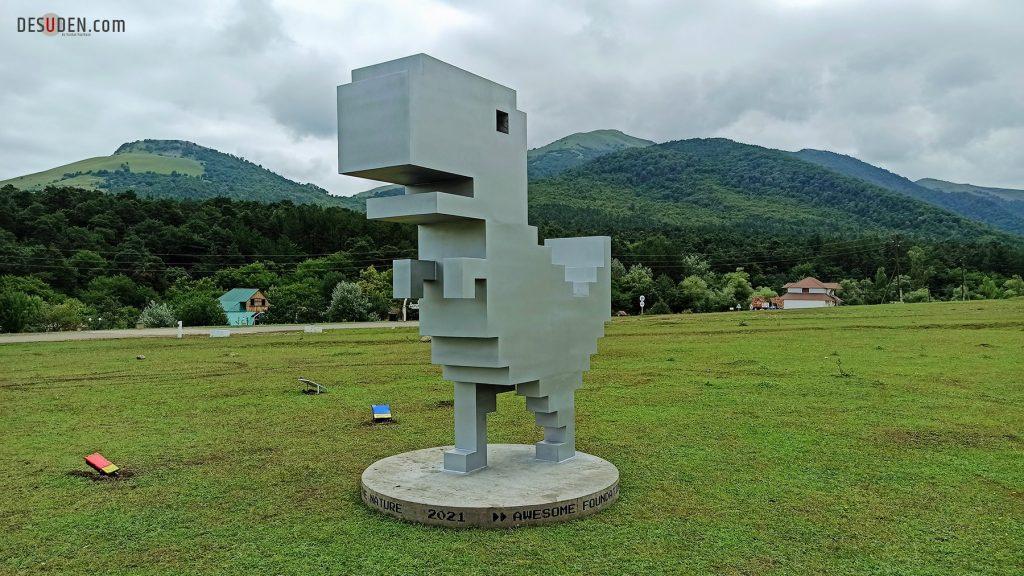 Chrome Dino statue