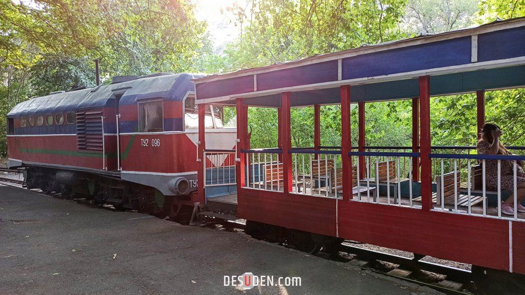The train parked in Yerevan Children's Railway station